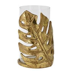 Świecznik ze złotym liściem wzór 1