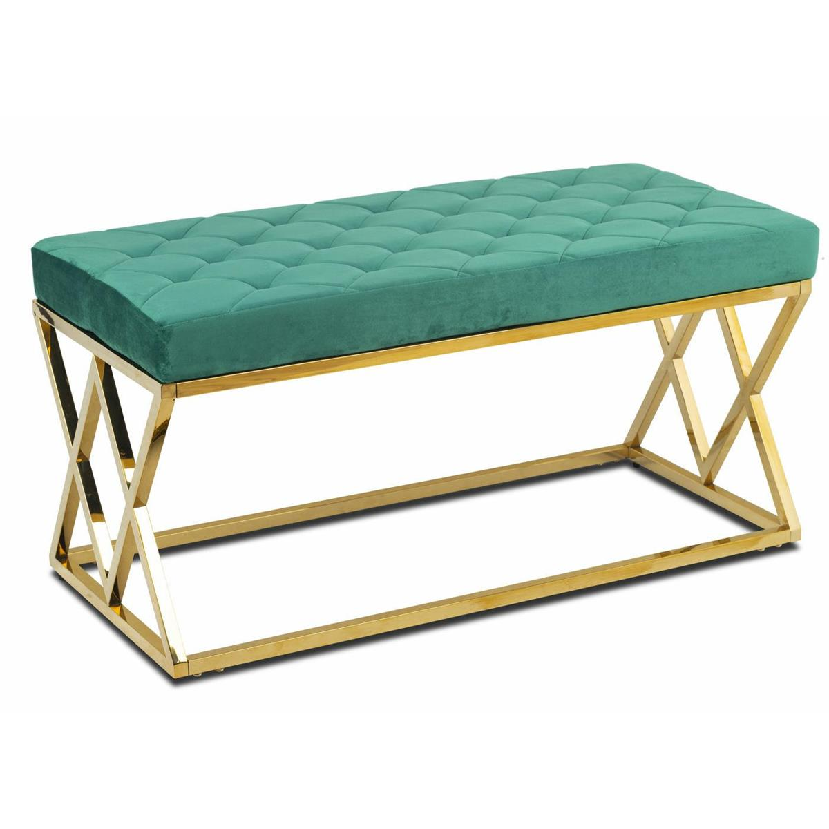 Pikowane siedzisko Timantti Gold Green