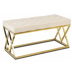 Pikowane siedzisko Timantti Gold White