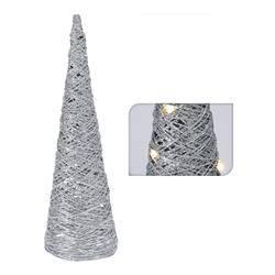 Choinka stożek srebrny 30 led 60 cm