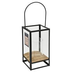 Lampion metalowy ze szkłem czarny 21 cm