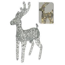 Renifer rattanowy srebrny Led 60 cm