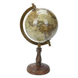 Dekoracyjny globus świata beżowy 28 cm