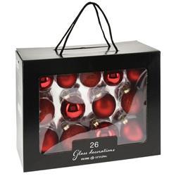 Bombki choinkowe szklane czerwone 26 szt