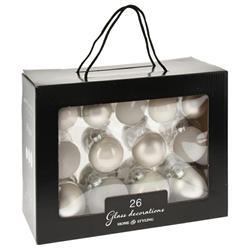Bombki choinkowe szklane białe 26 szt
