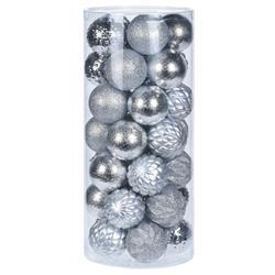 Bombki choinkowe Diamond srebrne 35 szt