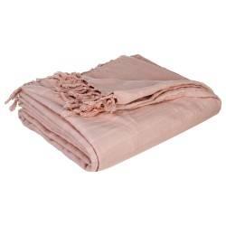 Narzuta na łóżko 230x250 frędzle różowa