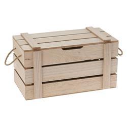Pudełko z pokrywą drewniane beżowe