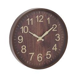 Zegar ścienny imitacja drewna 30 cm brąz