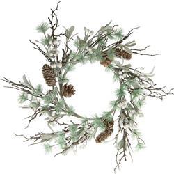 Wianek świąteczny z ostrokrzewem 54 cm