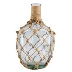 Wazon szklany opleciony sznurem 31 cm